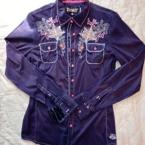 Roar Signature Stretch Western Distressed Shirt